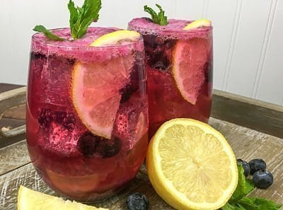 Healthy Sparkling Blueberry Mint Lemonade Summer Drink